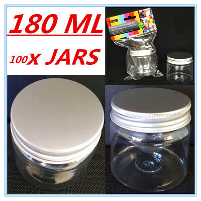 100 X Clear Plastic Screw Top Craft Project Storage Jars Jar Silver Lid 180Ml D