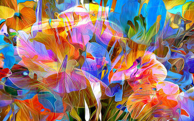Modern Home Art Wall Decor Abstract Color Flower painting picture Printed Canvas