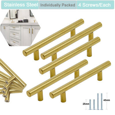 Modern Kitchen Cabinet Handles Brass T Bar Knobs Cupboard Drawer Gold Pulls Lot