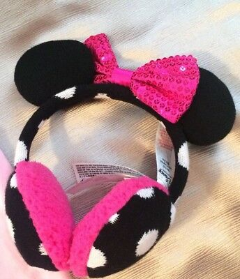 Disney Store Minnie Mouse Clubhouse Knitted Ear Muffs for Kids Girl 💗EUC!