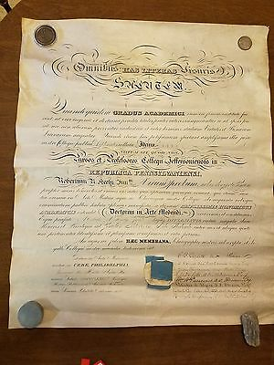 1882 Jefferson Medical College DIPLOMA SIGNED Samuel D. Gross, ROBERT E. PEARY