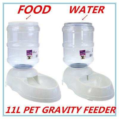 Automatic Plastic Pet Dog Cat Water Food GRAVITY Feeder Bowl Fountain Dispenser