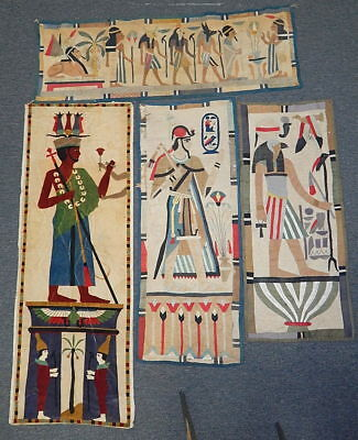 4pc Lot Vintage Antique Egyptian Revival Needlework Tapestry Wall Hanging Lot