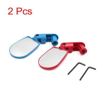 2 Pcs Red Blue Mini Rotate Flexible Bike Bicycle Handlebar End Rearview Mirror