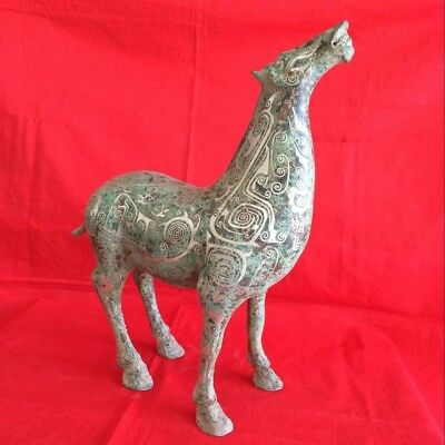 antique     Ancient Chinese bronze coppering.as silver long legs steeds.
