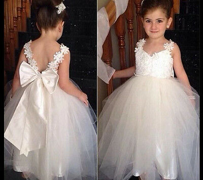 AU Kids Baby Princess Girls Party Lace Flower Wedding Bridesmaid Dresses Gown