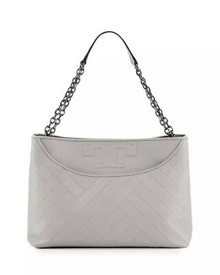 f42bbb8abc4 BNWT TORY BURCH Alexa Quilted Slouchy Leather Tote in Concrete Grey MSRP   595
