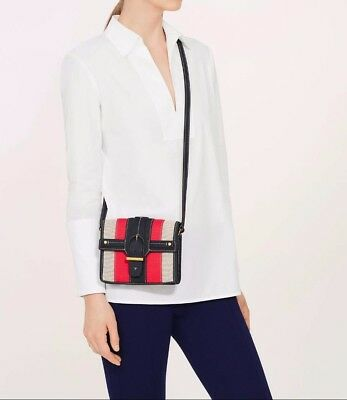 5ab19c90644 BNWT Authentic Tory Burch Canvas   Suede Crossbody Natural   Tory Navy MSRP   295