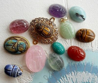 Lot 12 Vintage Carved Scarab Beetle For Jewellery Making - Stone Pottery Glass