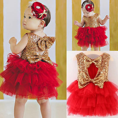 Kids Baby Girl Sequins Tutu Dress Bow Party Wedding Dresses Princess Sundress AU