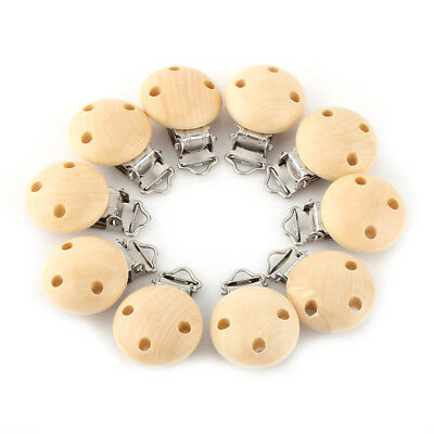 10pcs/lot Wooden Baby Pacifier Clips Holder Soother Dummy Nipple with 3 Holes