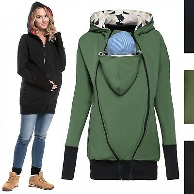 Happy Mama. Women's Maternity Softshell Hoodie Jacket Removable Insert. 056p