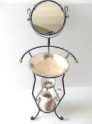Set TOILET bowl pitcher saucer wrought iron MIRROR and ceramics TUSCANY