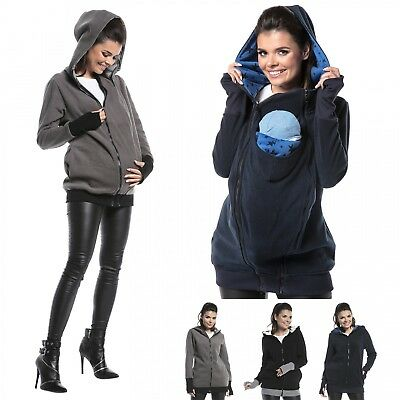 Zeta Ville - Women's Maternity Fleece Hooded Sweatshirt Removable Panel - 057c