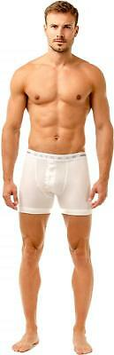 Haigman Mens Underwear Two Pack Button Front Cotton Stretch White Boxer Shorts