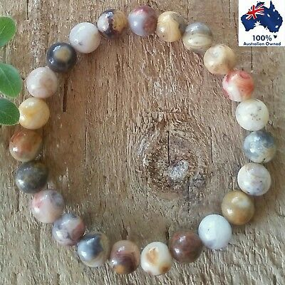 CRAZY LACE AGATE Gemstone Bracelet Crystal Healing 100% Natural Earth Stone Bead