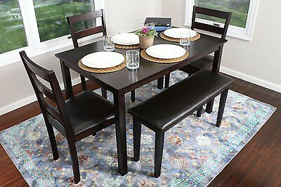 Kitchen Dinette Set Dining Room Furniture Modern Table Chairs Bench Wood 5 Piece