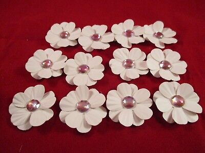12 Handmade Paper Flowers................white With Pink Centre