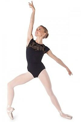 (Black, Medium) - Intermezzo Dancewear Bodymertatu Ma Cap Sleeve Leotard