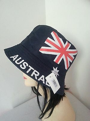 AUSTRALIA FLAG BUCKET HAT Adult Australian Day Aussie Summer Sun Cap Brim New