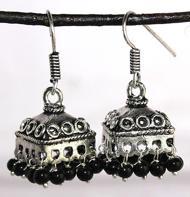 Earring 2 Pc Beautiful Vintage Black Metals with Black Beads - 55 Carat