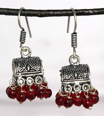Earring 2 Pc Beautiful Vintage Black Metals with Red Beads - 65 Carat