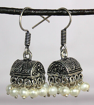 Earring 2 Pc Beautiful Vintage Black Metals with White Beads - 65 Carat