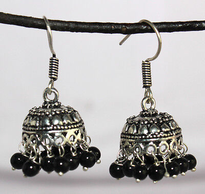 Earring 2 Pc Beautiful Vintage Black Metals with Black Beads - 70 Carat