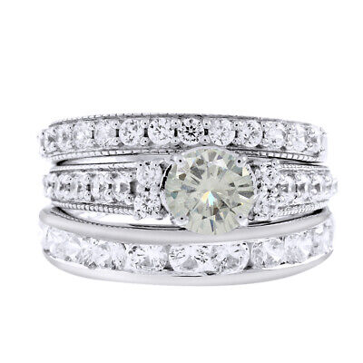 a95d961f7 5.75 Ct Genuine Moissanite Trio Bridal Set Engagement Rings in 10k White  Gold