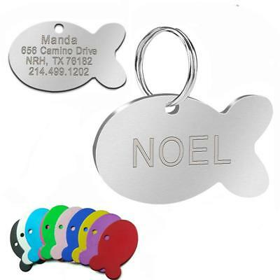 Stainless Steel Engraved Dog Tags Cute Fish Shape for Pet Puppy Cat High Quality