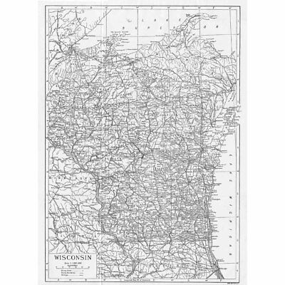 WISCONSIN State Map - Antique Map 1922 by Carl Hentschel