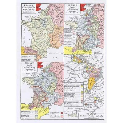 FRANCE Changing Borders Over Centuries - Antique Map 1910 by Emery Walker