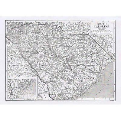 SOUTH CAROLINA State Map Showing Counties - Antique Map 1910 by Emery Walker
