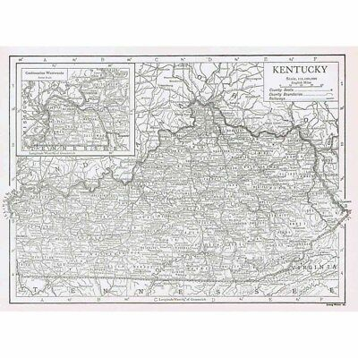 KENTUCKY State Map Showing County Seats - Vintage Map 1926 by Emery Walker