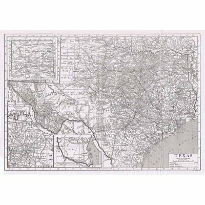 TEXAS State Map Showing County Seats - Vintage Map 1926 by Emery Walker