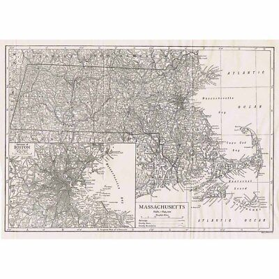MASSACHUSETTS State Map with inset of Boston - Antique Map 1922 by Emery Walker