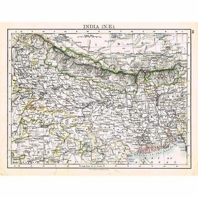INDIA (NE) Oudh, Assam, Nepal, Bengal - Antique Map 1899 by W & AK Johnston