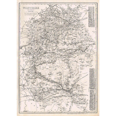 WILTSHIRE - Antique County Map c.1863 by Weller