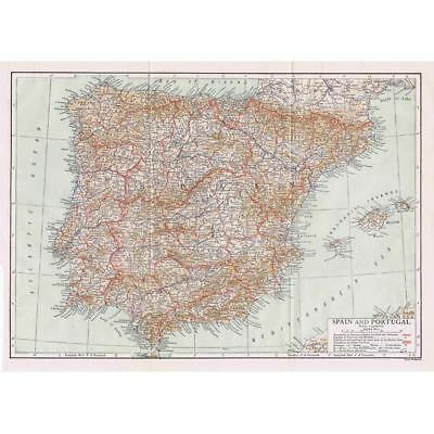 SPAIN and PORTUGAL - Antique Map 1910 by the Gill Engraving Co, NY