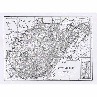 WEST VIRGINIA State Map - Antique Map 1922 by Carl Hentschel