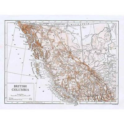 CANADA British Columbia - Antique Map 1910 by Emery Walker
