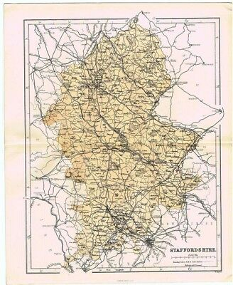 STAFFORDSHIRE Antique County Map 1868 by Virtue