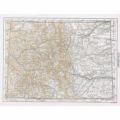 COLORADO State Map Showing County Seats - Vintage Map 1926 by Emery Walker