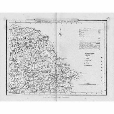 YORKSHIRE: NORTH RIDING Antique Map c1840 by Archer for Dugdales Delineated