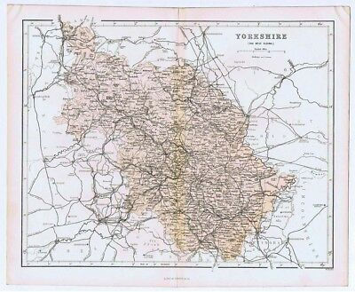 YORKSHIRE The West Riding - Antique County Map 1868 by Virtue