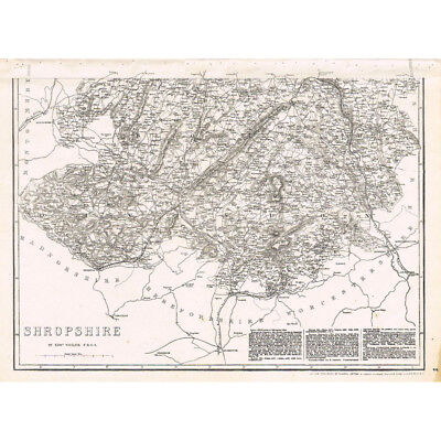 SHROPSHIRE South Part - Antique County Map c.1863 by Weller