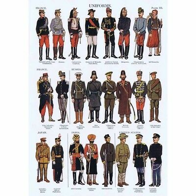 MILITARY Uniforms of France, Russia, Japan, India and USA - Vintage Print 1926