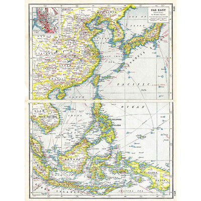Antique Map 1920 - FAR EAST Industrial with inset of Manila - Harmsworth Atlas