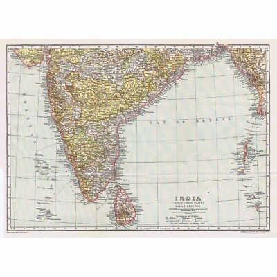 INDIA (Southern Part) Antique Map 1922