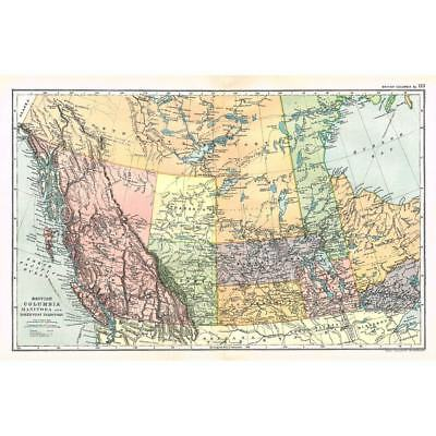 CANADA British Columbia, Manitoba & NW Territory - Antique Map 1894 by Bacon